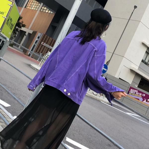 Casual γυναικείο τζιν μπουφάν  σε μοβ χρώμα