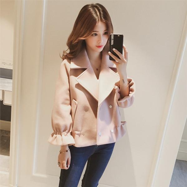 Дамско стилно палто с шпиц деколте -къс модел в няколко цвята