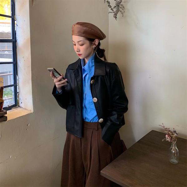 Γυναικείο casual οικολογικό δερμάτινο μπουφάν σε τρία χρώματα