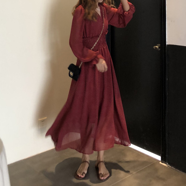 Дамска ежедневна дълга рокля в два цвята