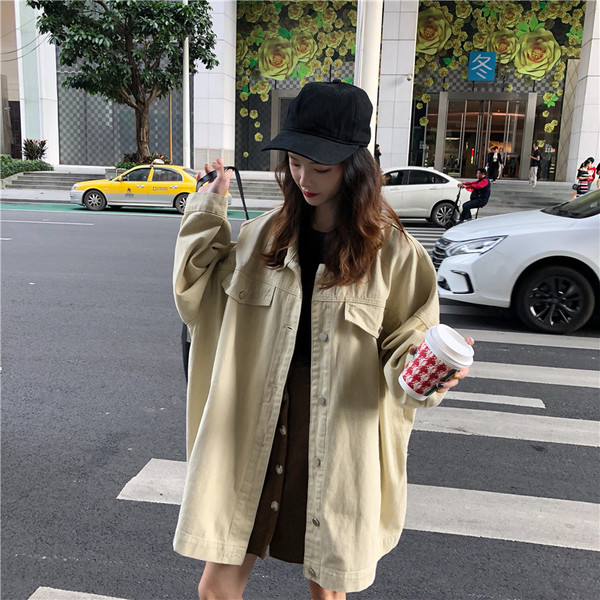Γυναικείο τζιν μπουφάν σε δύο χρώματα - ευρύ μοντέλο