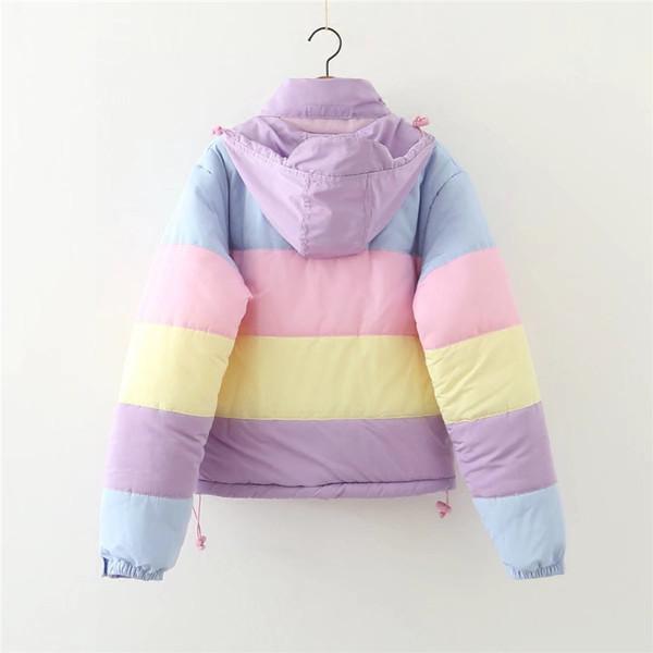 ΝΕΟ μοντέλο χειμωνιάτικο γυναικείο χρωματιστό μπουφάν με μακρύ μανίκι