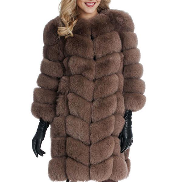 НОВ модел дамско дълго пухено палто в кафяв цвят
