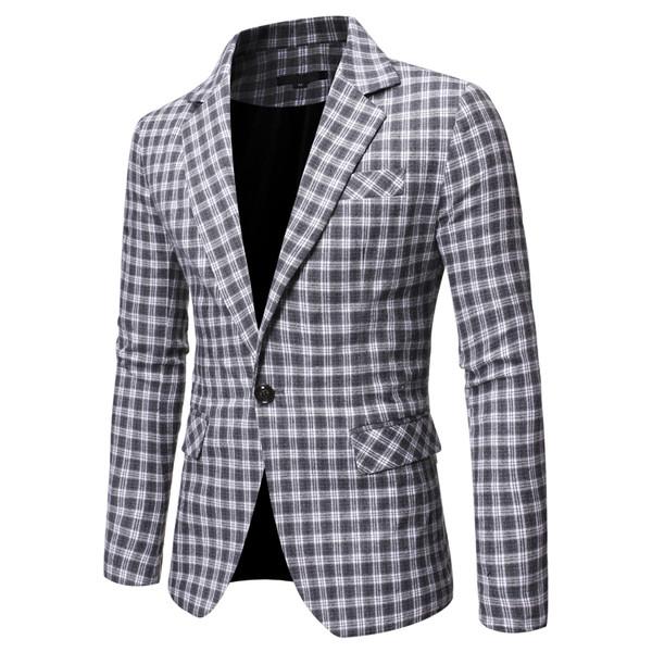 Модерно мъжко сако с копче и джоб в два цвята