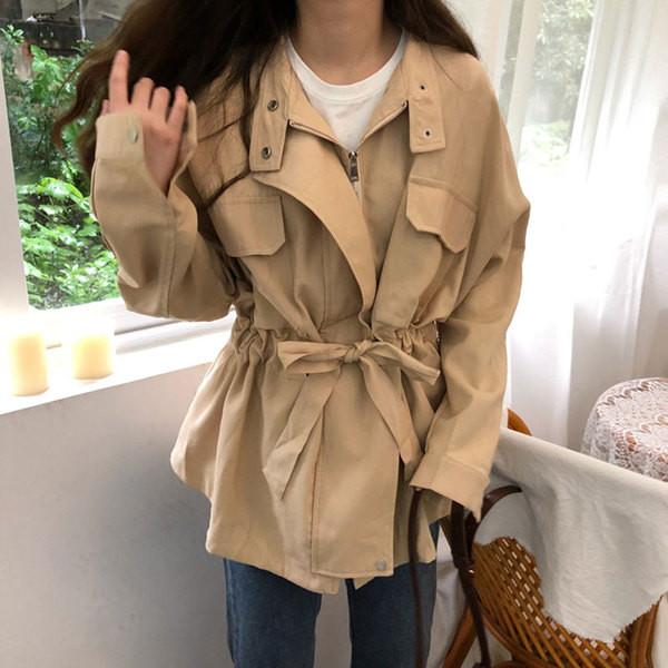 Дамско тънко палто в два цвята с цип