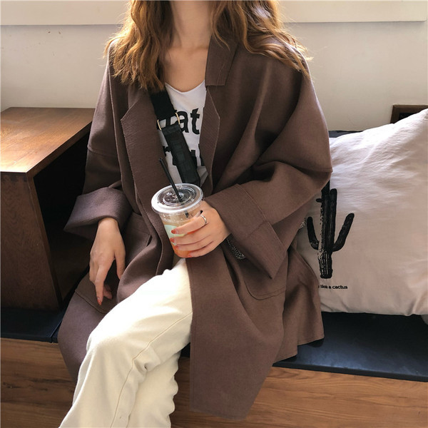 Дамско широко палто с джобове в два цвята
