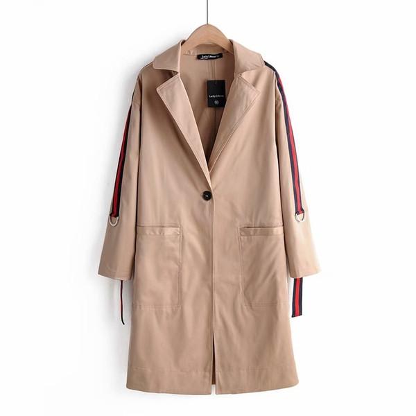 Дълго пролетно-есенно палто в кафяв цвят