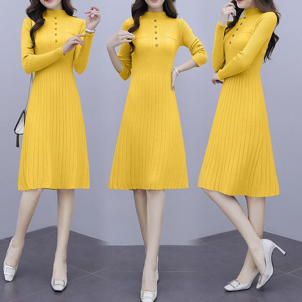 Зимна дамска рокля разкроен модел с дълъг ръкав в три цвята