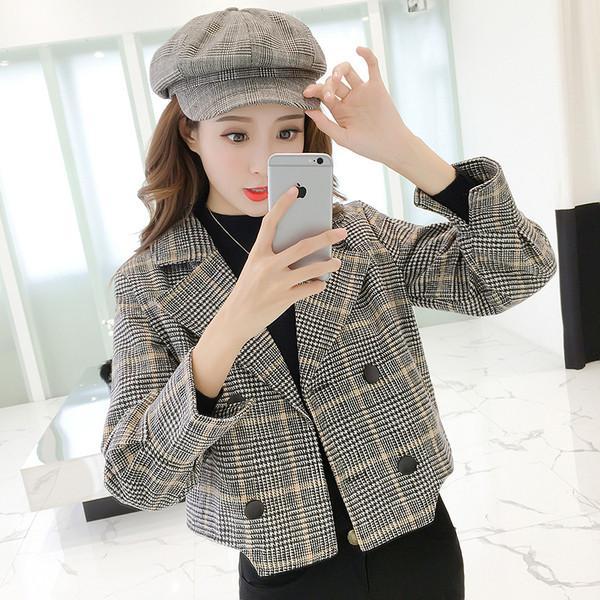 Актуално дамско късо карирано сако в два цвята