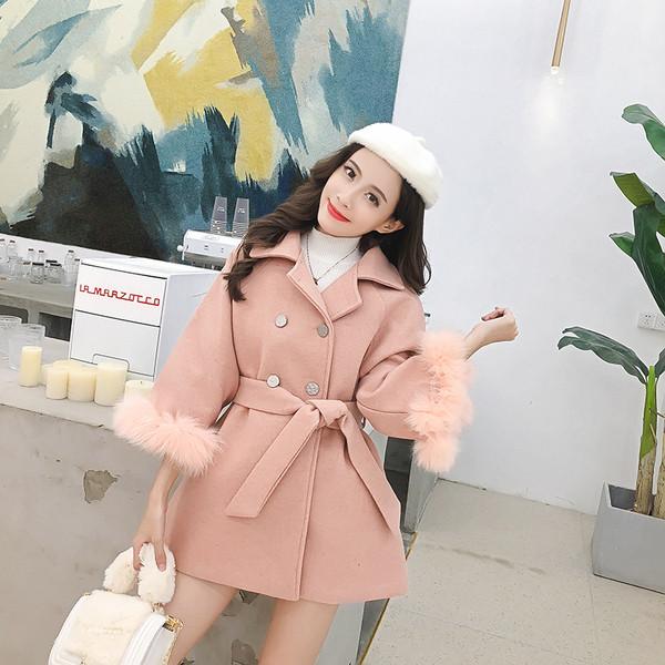 Стилно дамско палто в два цвята - розов и черен с пух