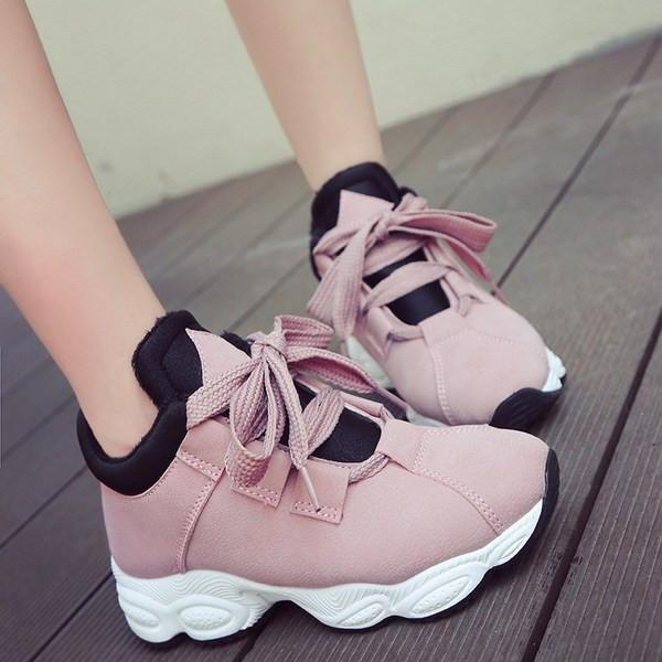 Дамски маратонки в розов, бял, черен и сив цвят