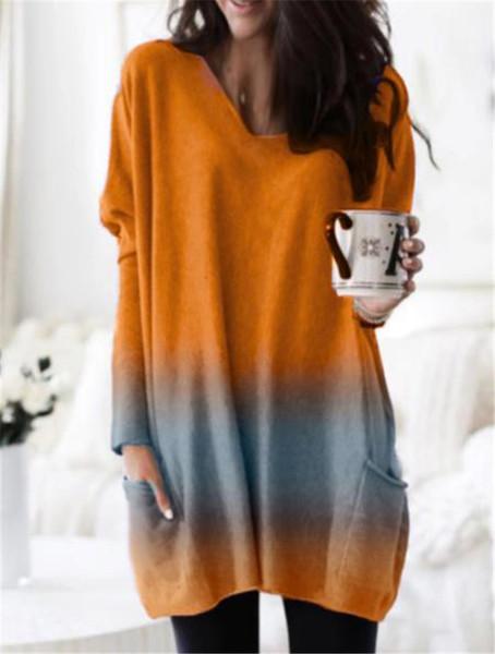 Μοντέρνο γυναικείο μπλουζοφόρεμα  με τσέπη και μακρύ μανίκι σε τρία χρώματα
