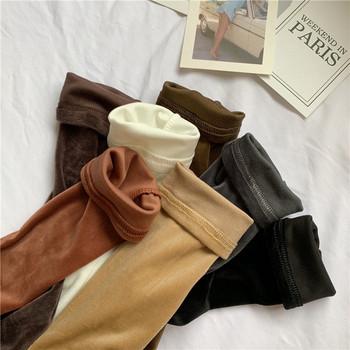 Дамска ежедневна блуза от кадифе с висока яка в няколко цвята