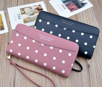 Γυναικείο πορτοφόλι πουά σε  μπλε, κόκκινο, ροζ και μαύρο χρώμα