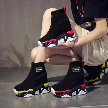 Ежедневни дамски кецове тип чорап  с висока платформа