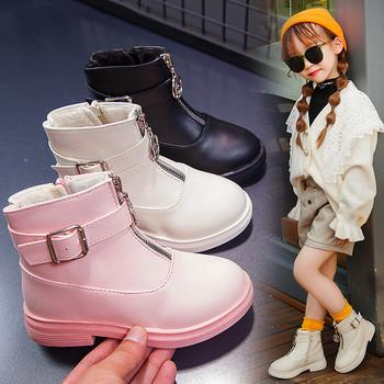 Детски боти за момичета в три цвята с цип и катарама