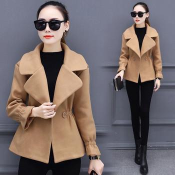 Дамско ветроустойчиво палто с яка в различни разцветки