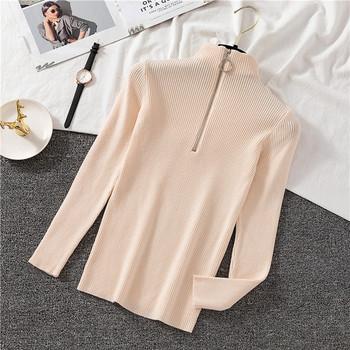 Ежедневна дамска блуза с цип от рипсено трико в различни разцветки