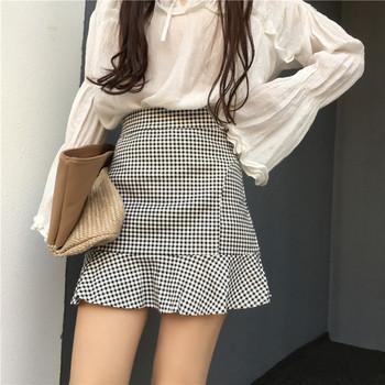 Дамска къса карирана пола с висока талия