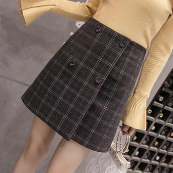 Дамска карирана пола-панталон с висока талия в черен, сив и кафяв цвят