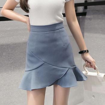 Модерна дамска пола разкроен модел в бял, син, черен и розов цвят