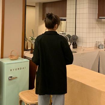 Дамско ежедневно дълго палто в два цвята с джобове