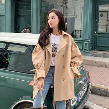Актуално дамско тънко палто в два цвята - широк модел