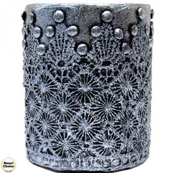 Сувенир ръчна изработка - аксесоар за бюро моливник тъмно сребро