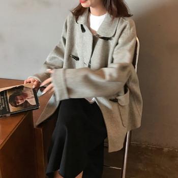 Дамско модерно дълго палто в два цвята с копчета