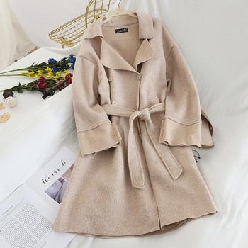 Дамско стилно палто с колан в четири цвята