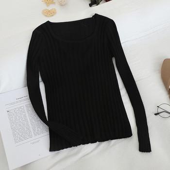 Изчистен модел дамски пуловер с квадратно деколте в няколко цвята