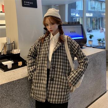 Дамско модерно карирано палто с копчета