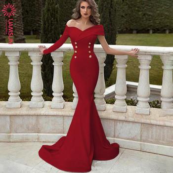 Κομψό γυναικείο φόρεμα με ένα μανίκι σε τέσσερα χρώματα