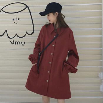 Дамско тънко палто в два цвята дълъг модел с копчета