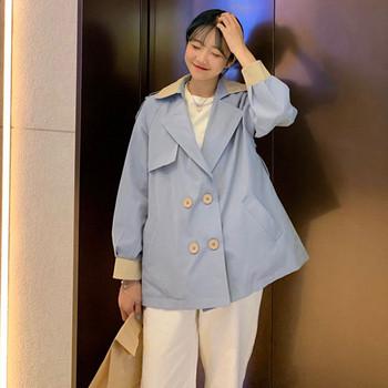 Дамско тънко палто в два цвята с копчета широк модел