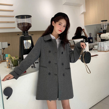 Дамско модерно палто в два цвята с копчета и джобове