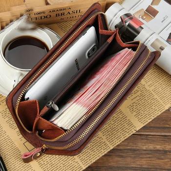 Мъжки кожен портфейл с две отделения с цип и дръжка