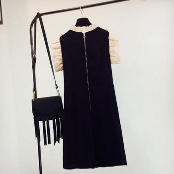 Нов модел дамска рокля с цветна бродерия в черен цвят