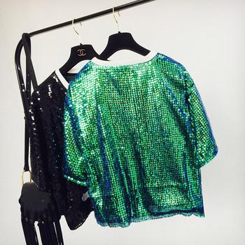 Дамска тениска с обло деколте и пайети в няколко цвята