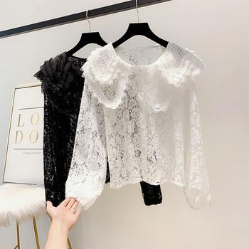 Модерна дамска дантелена риза с копчета в бял и черен цвят