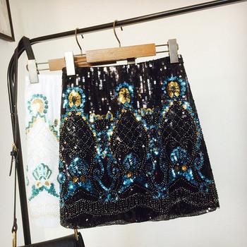 Стилна дамска пола с висока талия и елемент  пайети