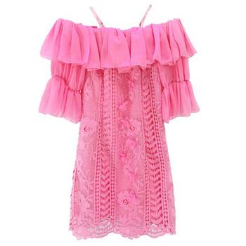 Дамска модерна рокля с паднали ръкави в два цвята