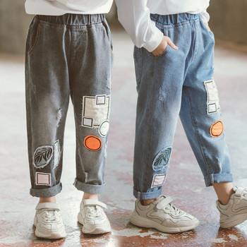Нов модел детски дънки с джобове в син и сив цвят за момичета