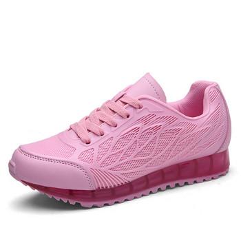 Ежедневни дамски маратонки с дебела подметка в бял и розов цвят