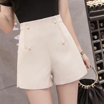 Стилни дамски къси панталони в няколко цвята с декоративни перли