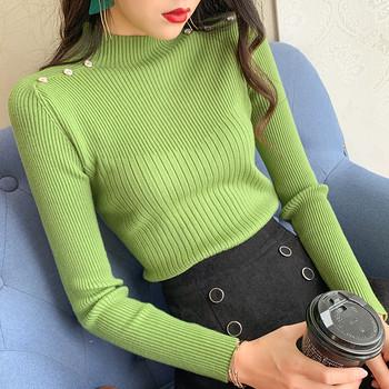 Дамски пуловер  с копчета в няколко цвята