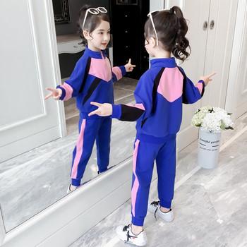 Модерен спортен детски комплект от две части суичър + панталон в два цвята