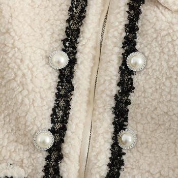 Дамско палто с перли и джобове в няколко цвята
