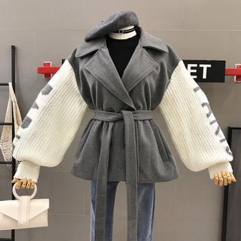 Дамско ежедневно палто с колан в сив и бежов цвят