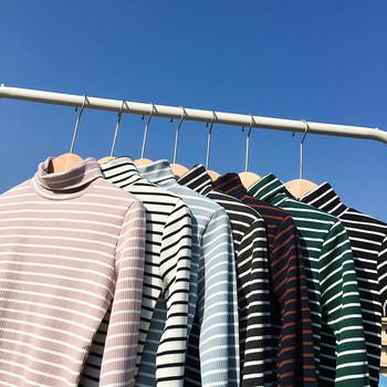 Раирана дамска блуза с яка в различни цветове
